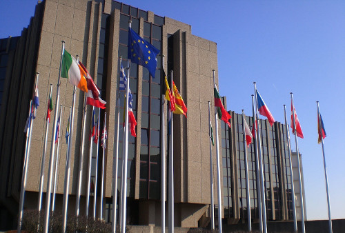 EU flags at the European Union Court of Auditors